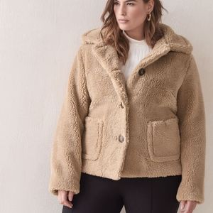 Sherpa coat, button down, fully lined,camel colour